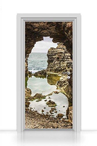 Deurbehang zelfklevend eendelig (klik door rotsen op de oceaan) deurfolie 93x205cm