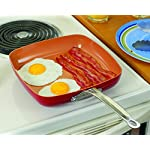 Red-Copper-95-Inch-Square-Pan-By-BulbHead-NonStick-AntiScratch-Heat-Resistant-Cookware-Stainless-Steel-Induction-Ready-No-PFOA-or-PFOEs-with-Riveted-Stay-Cool-Handle
