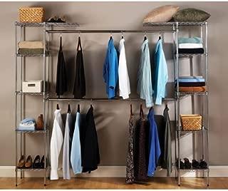 Seville Classics Double-Rod Expandable Clothes Rack Closet Organizer System, 58