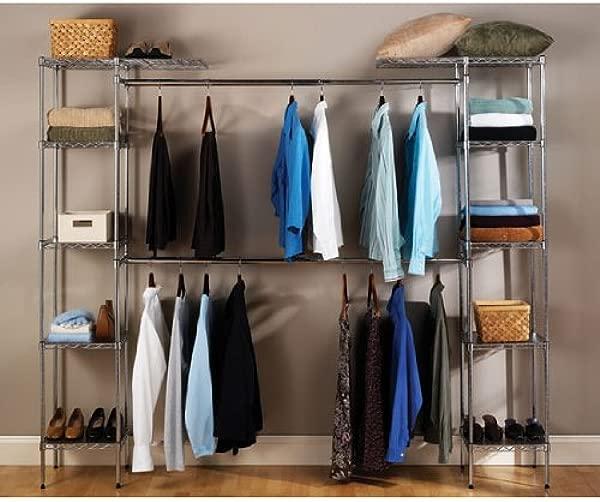 Seville Classics Double Rod Expandable Clothes Rack Closet Organizer System 58 To 83 W X 14 D X 72 Chrome