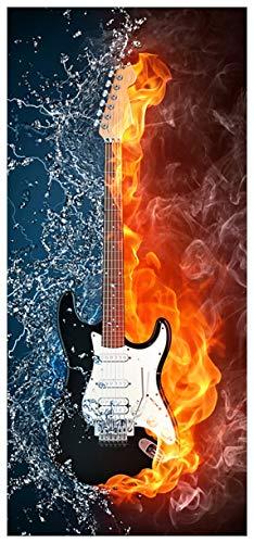 Wallario Türfolie Türposter Selbstklebende Türtapete Feuer-Wasser-Gitarre - 93 x 205 cm in Premium-Qualität: Abwischbar, Brillante Farben, rückstandsfrei zu entfernen