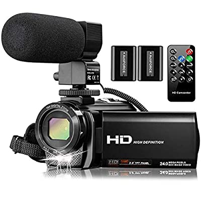 Video Camera Camcorder with Microphone, VideoSky FHD 1080P 30FPS 24MP Vlogging YouTube Cameras 16X Digital Zoom Camcorder Webcam Recorder with Remote Control, 3.0 Inch 270° Rotation Screen from VideoSky
