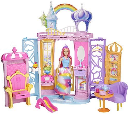 Barbie- Castello della Baia dell'Arcobaleno Bambola e 10 Accessori, Multicolore, FRB15