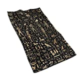 LASWEGA Luxury Towels Ancient Egyptian Hieroglyphs Black Gold Bath Towel,Hand,Gym,Beauty,Hair,Spa,and Home Care,Ultra Soft & Highly Absorbent Premium Microfiber 27.515.7in