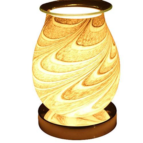 Be-Creative Desire Aroma - Quemador eléctrico de cera para derretir 3D, lámpara táctil de noche, calentador de cera de tarta - (mármol ovalado con purpurina 3D)