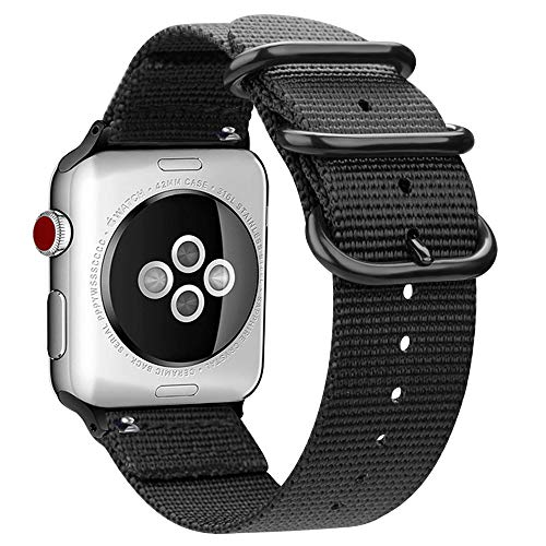 MaKer Nylon Tessuto Cinturini con Fibbia ad Anello Nato Compatibile con Apple Watch Series 4/3/2/1 (44/42mm,Nero)