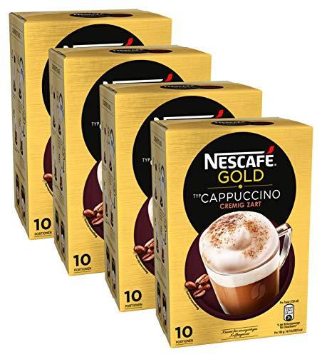 NESCAFÉ Gold Typ Cappuccino Cremig Zart, Getränkepulver aus löslichem Bohnenkaffee mit Kaffeeweißer & Zucker, koffeinhaltig, 4er Pack (à 10 x 14 g Sticks)