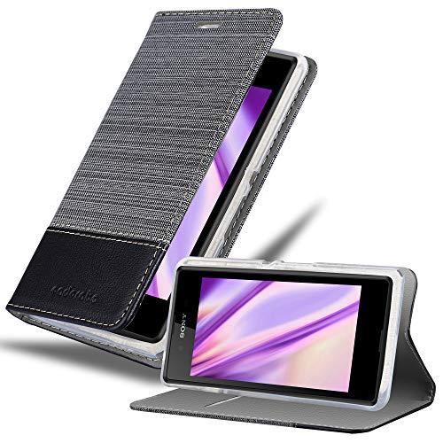 Cadorabo Hülle für Sony Xperia E3 in GRAU SCHWARZ - Handyhülle mit Magnetverschluss, Standfunktion & Kartenfach - Hülle Cover Schutzhülle Etui Tasche Book Klapp Style