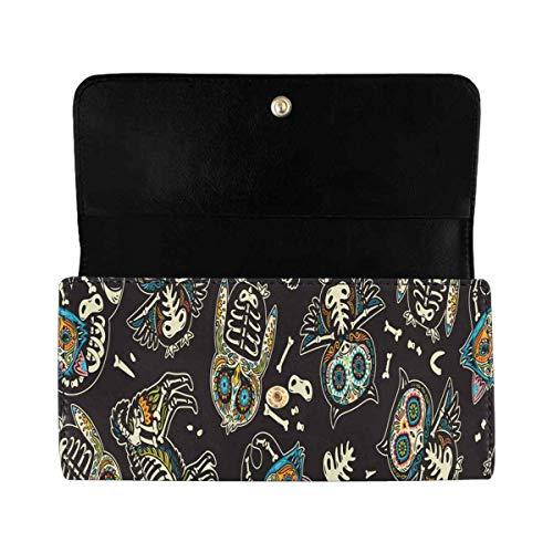 InterestPrint Women's Trifold Clutch Wallets Owl Llama Sugar Skull Long PU Leather Card Holder Purses