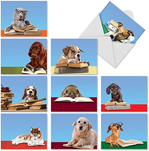 Assortment of Thank You Cards 4 x 5.12 inch Featuring Dogs Reading - 'Reading Eye Dogs' Greeting Card Set with Envelopes for All Occasions - M2967