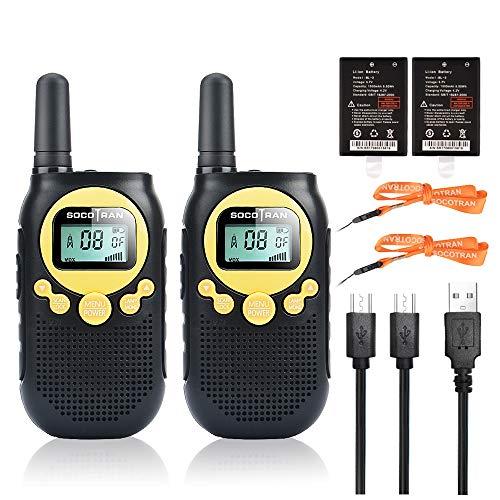 Walkie Talkie Twin Pack de hasta 3 km de Largo Alcance 8 Canales PMR446 Radio de Dos vías sin Cargo Puerto de Carga Micro USB Linterna Monitor VOX para Acampar en Familia, Senderismo