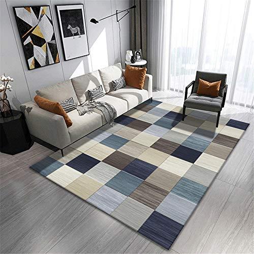 Alfombra alfombras para Cocina Alfombra Duradera de diseño a Cuadros Azul marrón Amarillo Suave Decoracion para habitacion Decoracion Cuarto Adolescente 60*160CM