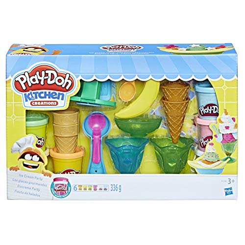 Play-Doh Kitchen Creations Ice Cream Party Play Food Set with 6 Non-Toxic Colors, 2-Ounce Cans