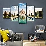 Cuadro sobre Impresión Lienzo 5 Piezas Castillo de Taj Mahal, India 125X60cm Cuadro en Lienzo 5 Piezas Listo para Colgar Lienzos Moderno Arte Sala Decoración Regalo