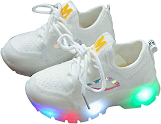 Hopscotch Fanyi Baby Boys and Baby Girls Mesh Lace Up LED Sneakers in White Color