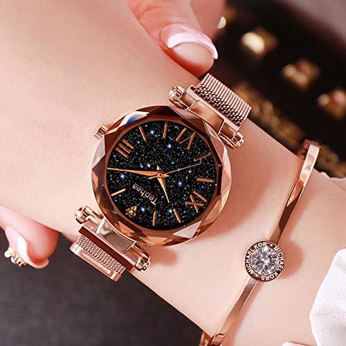 SHOUB Orologi Donna Marca Zegarek Dami Starry Y Laides Orologio da Polso per Pelle Orologio Romantico Femminile Reloj Mujer