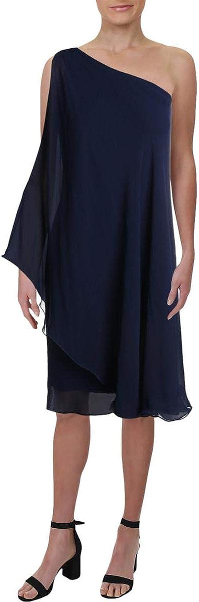 Lauren by Ralph Lauren Women's Londie One-Shoulder Dress (2, Indigo Blue)