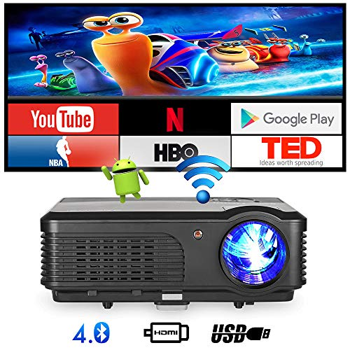 Smart Wireless Projector, WiFi Bluetooth Projector 4400 Lumen Support HD 1080P for Home Movie, Synchronize Smartphone Screen, Compatible with TV Stick, PS4, Laptop, DVD Player, HDMI, USB, VGA