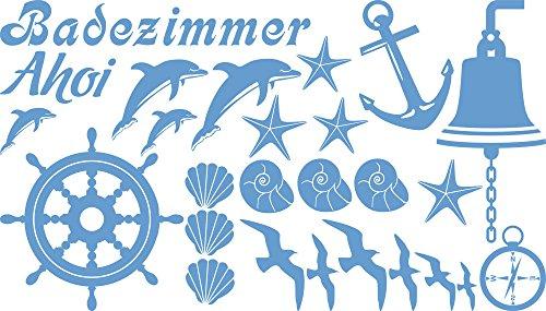 GRAZDesign Wasserfeste Fliesen Aufkleber AHOI Steuerrad Anker Möwe, Wandsticker Maritime Deko, Wandtattoo Bad Badezimmer WC Muscheln Delfine / 100x57cm 056 lichtblau