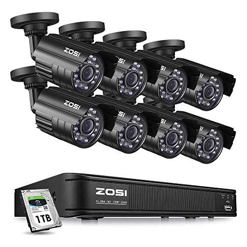 ZOSI 8CH Außen 720P HD Videoüberwachung System mit 1TB Festplatte 8CH 1080N 4in1 HDMI DVR Recorder Plus 8 TVI 1.0MP 720P Wasserdicht Überwachungskamera Set, Metallgehäuse, 20M IR Nachtsicht