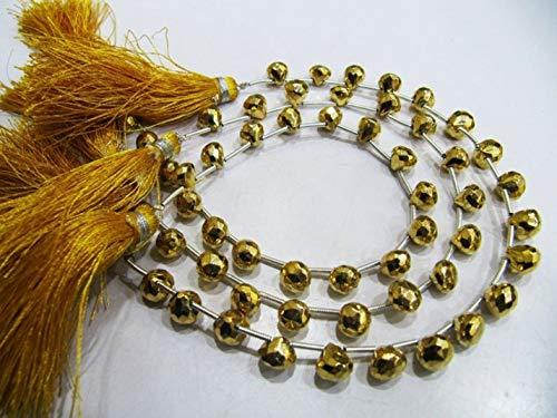 Shree_Narayani Cuentas facetadas con forma de cebolla de pirita dorada natural de 6 mm con cuentas de piedras preciosas de 8 pulgadas de largo para hacer joyas, cuentas de piedra natal de 2 hebras