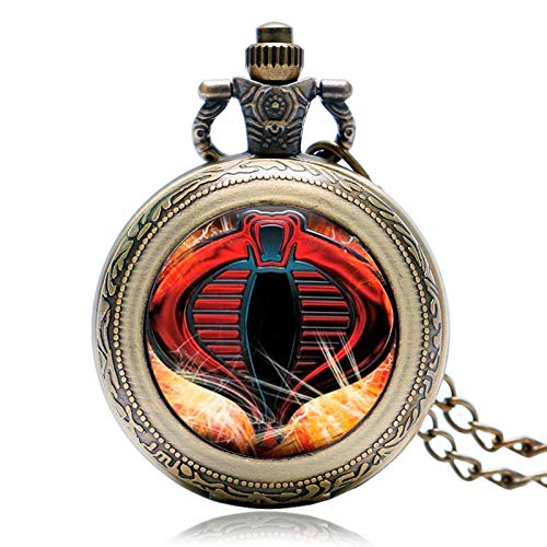 XVCHQIN Estuche Giratorio Vintage Reloj de Bolsillo de Cuarzo de Bronce de Moda Reloj Moderno Serpiente Cobra Collar Niños Niños Niño Regalos, Bronce