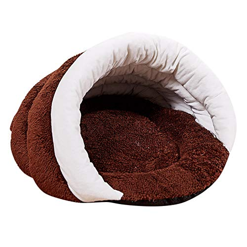Hisoul Pet Nest Puppy Fashion Cozy Soft Warm Nest Kennel Bed Cave House Sleeping Bag Mat Pad Tent for Small Dog/Cat Cold Winter (Brown, M-45X35X25cm)