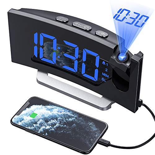 Mpow Réveil Projection, Radio Reveil Projecteur avec écran Incurvé à LED 5 '', Double Alarme et 4 Sons D'Alarme, Volume à 3 Niveaux, 6 Luminosité Variable, 4 luminosité de Projection, Snooze