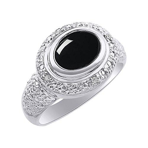 Anillo de oro blanco de 14 quilates con diamante y ónice – anillo de piedra de nacimiento de color