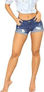 SOMTHRON Women's Oversize Distressed Jeans Hot Pants Denim Cut-Offs Ripped Cuffed Daisy Dukes Jeans Shorts