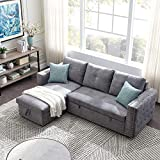 91-inch Sleeper Sectional Storage Sofa Bed, Corner Sofa Bed with Storage, Three Seats for Left and Right Hands, Nail Head