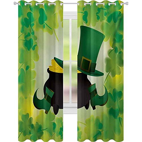cortinas de la ventana, Leprechaun Sombrero y Zapatos Disfraz con Olla de Oro con Hojas de trbol, W52 x L108 Cortina de oscurecimiento de la habitacin para la sala de estar, Bosque Verde