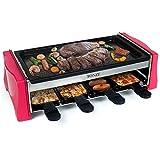 Raclette Grill per 8 Persone Piastra Griglia Elettrica Barbecue Portatile Bistecchiera con 8 Mini Padelle Casualmente Rosso Nero