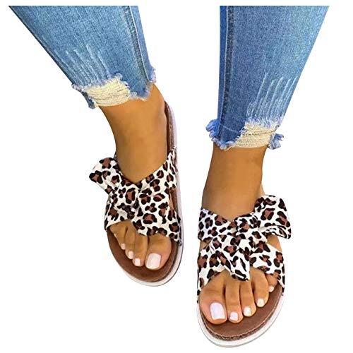 Aniywn Women's Bow Tie Slip On Flat Slide Sandals Beach Casual Comfort Slippers Summer Indoor Outdoor Slippers Khaki