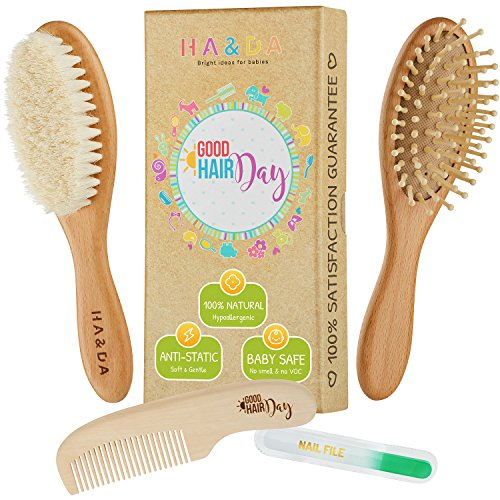 Wooden Natural Baby Hair Brush and Comb Set with Free Nail File, For Newborns and Toddlers, Grooming Kit, Soft Goat Bristles for Cradle Cap, Boys & Girls, Baby Shower Gift & Registry