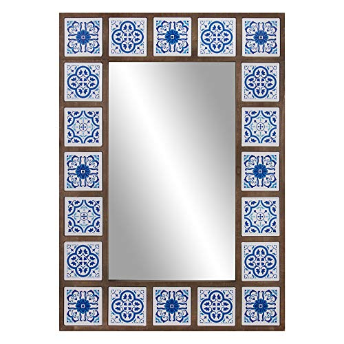 Patton Wall Decor 28x38 Indigo Moroccan Tile Framed Wall Mounted Mirrors, -
