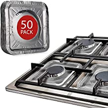 """Gas Stove Burner Covers by Linda's Essentials (50 Pack)   Disposable Aluminium Stove Burner Liners   8.5"""" Square Heat Resistant Gas Range Protector   Thick Stove Top Covers For Gas Burners"""