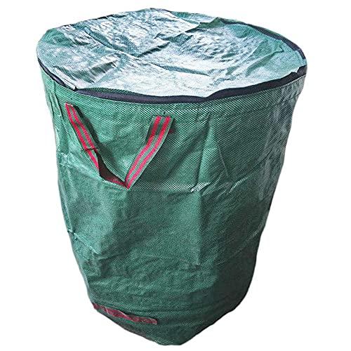 Gcroet 2pcs Bolsas de residuos de jardín Extra Grandes, Sacos de Basura Impermeable con Asas, Bolsas de Hierba de Hoja de lágrimas 300L, Bolsas de jardín con Tapa Reutilizables Impermeables