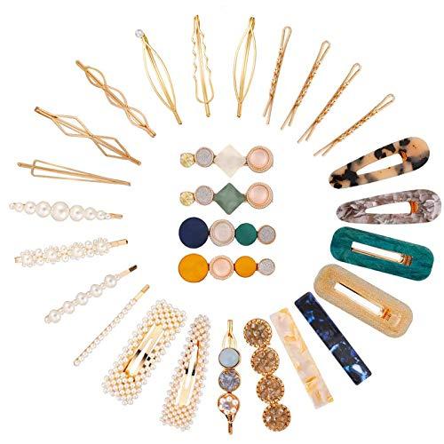 28 PCS Pinces à Cheveux, Perles Épingles à Cheveux, Acrylique Épingles à Cheveux Accessoires pour Filles Femmes Anniversaire Cadeaux