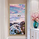 DIY Diamond Painting Kits Talla Grande,Flor venado cielo Pintura de Diamante 5D Completo Set Crystal Rhinestone bordado de punto de cruz artes for Home Wall Decor Gifts Square Drill-28x56in