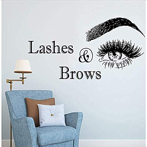 Wall stickers,Eyelashes and Eyebrows Logo Beauty Salon Decoration PVC Stickers for Wall Tabs Make Art 108X57Cm