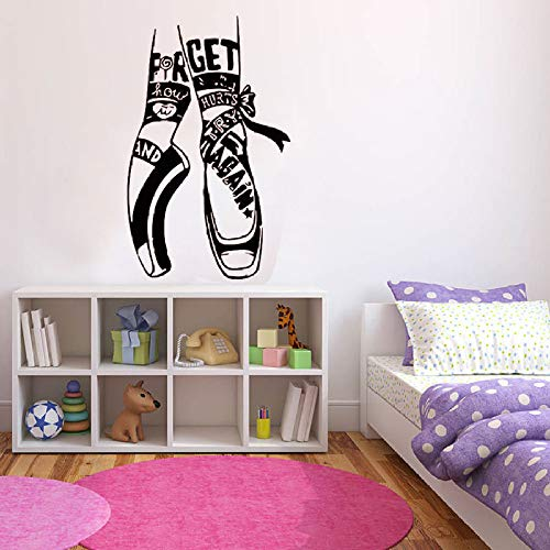 Zapatos de punta de ballet calcomanía de pared sala de baile de la escuela de ballet niños niña dormitorio decoración de arte interior puerta ventana pegatina de vinilo 50 cm * 35 cm