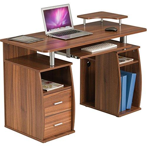 Piranha Großer Computer Schreibtisch mit 2 Schubladen und 4 Regalfächern in Dunkle Eiche Bureau PC 5n