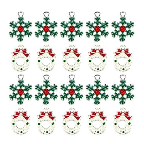 SUPVOX 20 Piezas Surtidos encantos de Esmalte encantos navideños encantos Plateados Colgantes para Collar Pulsera Pendiente de Tobillo joyería fabricación de Bricolaje