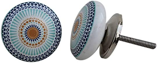 Artncraft 12 Knobs White & Grey Hand Painted Ceramic Knobs Cabinet Drawer Pull (Blue)