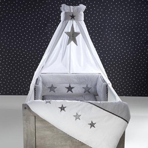 Schardt Himmelset/Bettset 4-teilig Stern grau