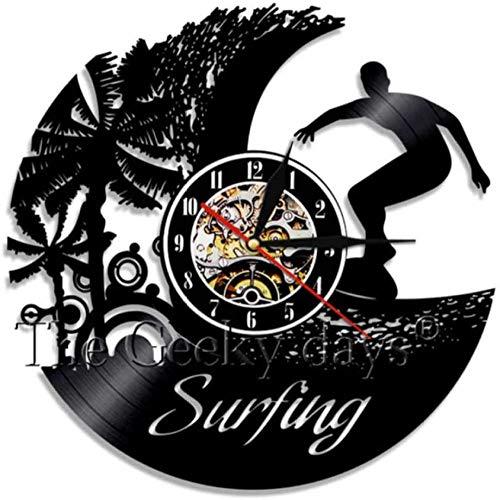 WTTA Reloj de Pared de Arte de Surf decoración de Pared de Surf Tabla de Surf de Windsurf Deportes acuáticos Reloj con Vista al mar decoración de Pared