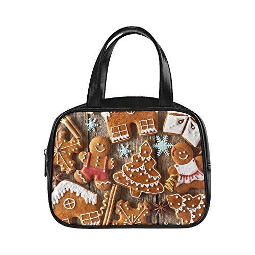 Plsdx Nette Handtaschen-Lebkuchen-Mann-Plätzchen mit Schneeflocke-und Weihnachtsbaum-Frauen-Art- und Weisebeutel-Reißverschluss-Einkaufstasche PU-Leder-Spitzen-Griff-Schultasche machen Einkaufstas