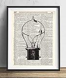 Vintage Light Bulb (#1) Upcycled Dictionary Art Print 8x10