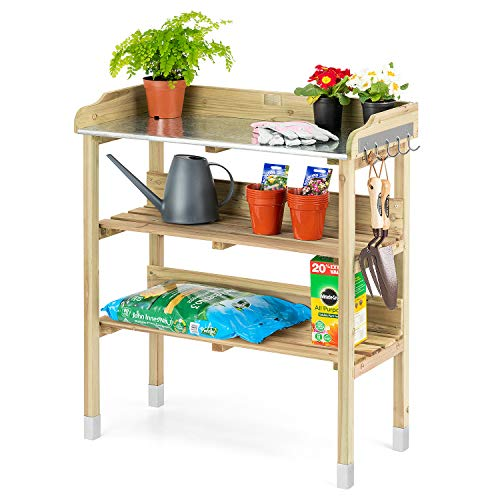 CHRISTOW Potting Table Bench With Hooks & Shelves, Wooden Outdoor Garden Table For Potting Plants, Galvanised Metal Top, H89cm x W76.5cm x D37cm